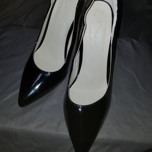 Joy Black Patent Leather heels with red soles